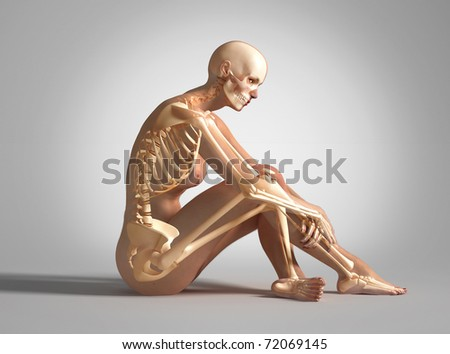 3 D rendering of a Naked woman sitting on floor with bone skeleton superimposed On neutral background with clipping path included
