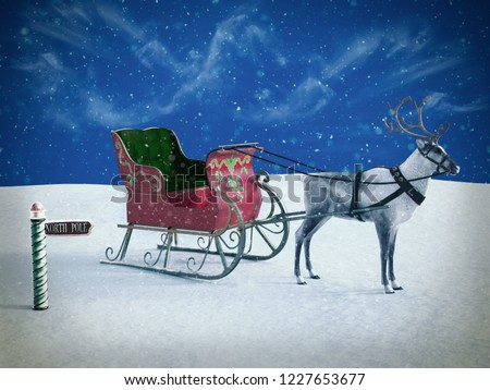 3D rendering of a north pole sign and a reindeer pulling a sleigh waiting for Santa to come. It's snowing. ストックフォト ©