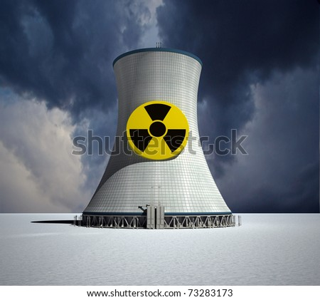 3D rendering of a nuclear power station