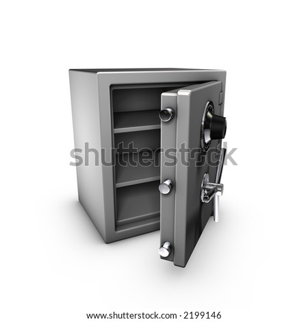 3d rendering of a opened safe