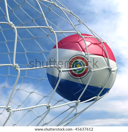 3d rendering of a Paraguayan soccer ball in a net - stock photo