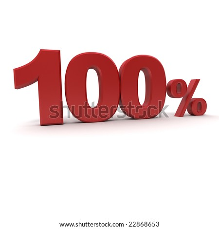 3D rendering of a 100 per cent in red letters on a white background