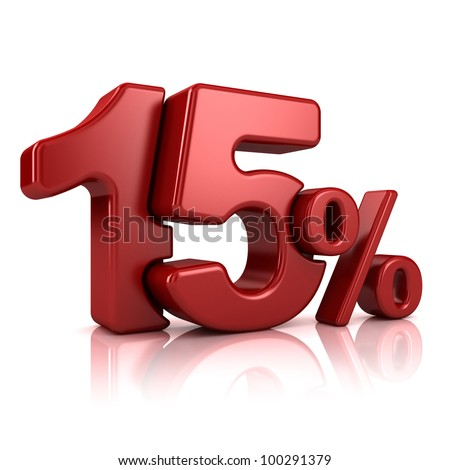3D rendering of a 15 percent in red letters on a white background