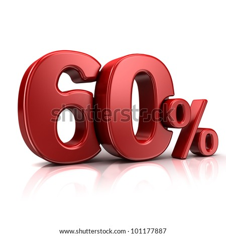 3D rendering of a 60 percent in red letters on a white background