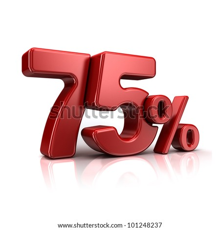 3D rendering of a 75 percent in red letters on a white background - stock photo