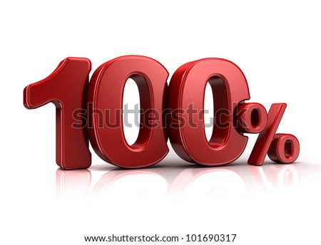 3D rendering of a 100 percent in red letters on a white background