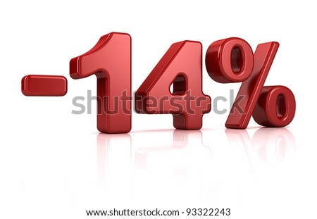 3D rendering of a -14 percent in red letters on a white background