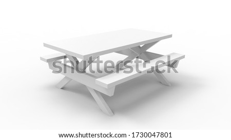 3D rendering of a picknick park bench seat table white isolated Stockfoto ©