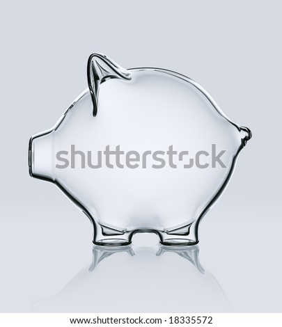 3d rendering of a piggy bank in glass