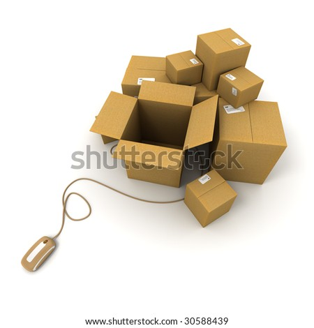 3D rendering of a pile of cartons connected to a computer mouse