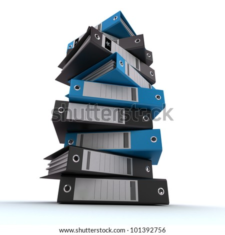 3D rendering of a pile of office ring binders