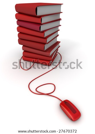 3D rendering of a pile of red books connected to a computer mouse