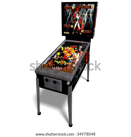 3D rendering of a pinball with clipping path and shadow over white