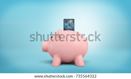 3d rendering of a pink piggy bank stands in a side view on a blue background with a credit card stuck into its coin slot. Cash against plastic cards. Saving money. Retail banking.