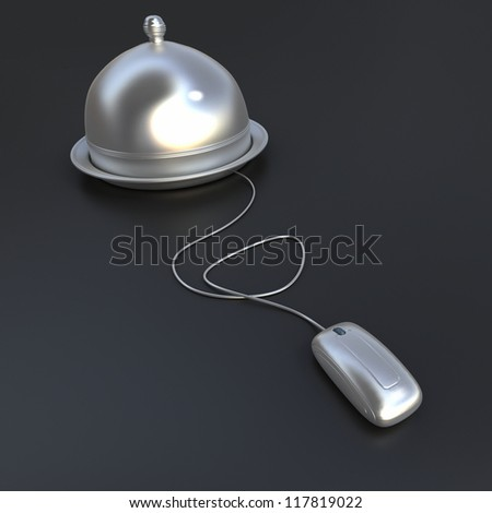 3D rendering of a plate covered with a cloche lid, connected to a computer mouse