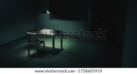 3D rendering of a police innterrogation room with double sided mirror and dramatic lighting / illustration Сток-фото ©