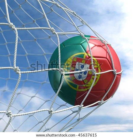 3d rendering of a Portuguese soccer ball in a net