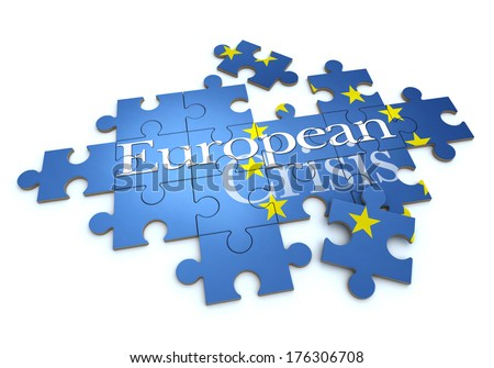 3D rendering of a puzzle with the words European Crisis
