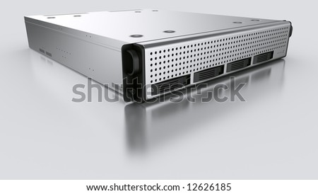3d rendering of a rack server on white reflective ground. - stock photo