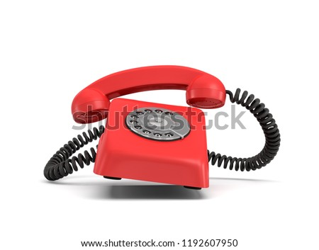 3d rendering of a red retro phone with a round rotary dial that rings with the phone itself and the handle lifted up. Red phone. Important call. Emergency phone.
