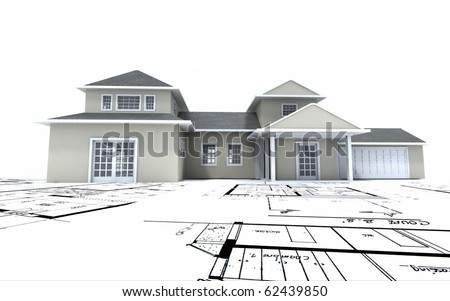 3D rendering of a residential architecture model on top of blueprints