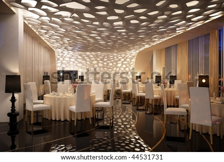 3d Rendering Of A Restaurant Interior Design Stock Phot