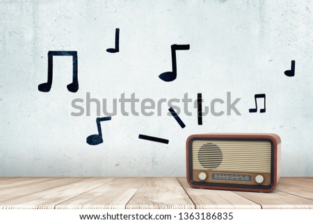3d rendering of a retro radio receiver on a wooden surface and hand-drawn musical notes on the wall. Nostalgia mood. Bring back memories. Have fun.