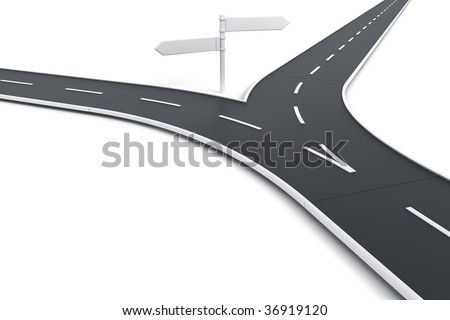3d rendering of a road splitting with road blank signs - stock photo