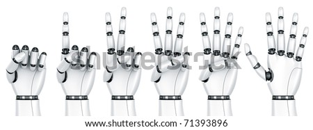 3d rendering of a robot hand counting from 1 to 5