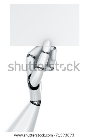 3d rendering of a robot hand holding a blank sign