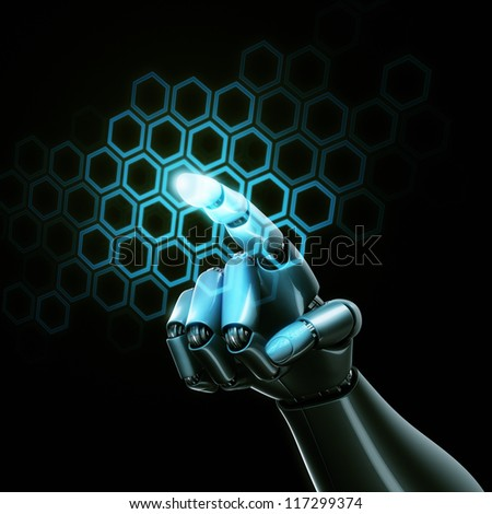 3d rendering of a robothand touching a grid of hexagons