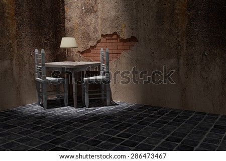 3d rendering of a rustic table and chairs on a dirty room