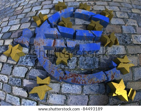 3D rendering of a rusty blue marble euro symbol with golden stars lying broken against a cobblestoned pavement
