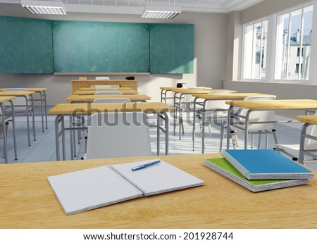 3D rendering of a school classroom