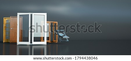3D rendering of a selection of different types of doors and windows Stockfoto ©