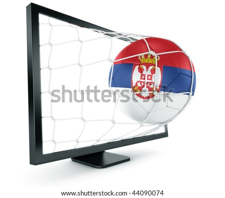 3d rendering of a Serbian soccer ball coming out of a monitor