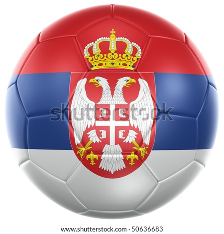 3d rendering of a Serbian soccer ball isolated on a white background