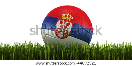 3d rendering of a Serbian soccerball lying in grass