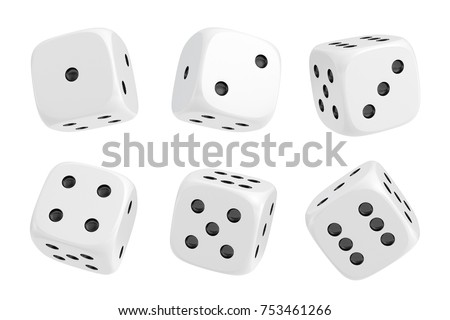 3d rendering of a set of six white dice with black dots hanging in half turn showing different numbers. Lucky dice. Board games. Money bets. Photo stock ©