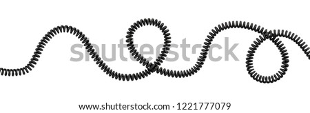 3d rendering of a single curved spiral cable lying on a white background. Phone line. Long distance connection. Technologies for staying in touch.