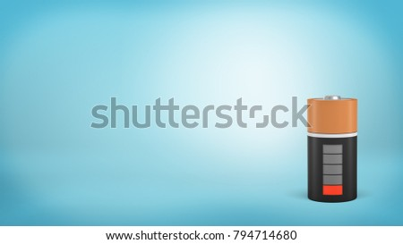 3d rendering of a single large orange and black battery with a low red charge indicator stands on a blue background. Low energy level. Last strength. No energy to spare. #794714680