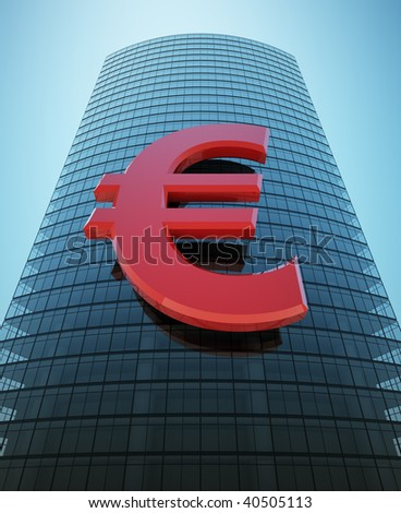 3d rendering of a skyscraper with a red euro, sign
