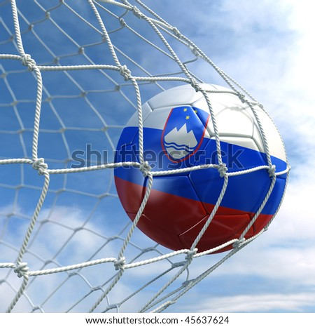 3d rendering of a Slovenian soccer ball in a net