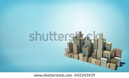 3d rendering of a small isolated cluster of many tall business buildings as seen from above on blue background. Building and construction. Commercial property. Downtown and city center.