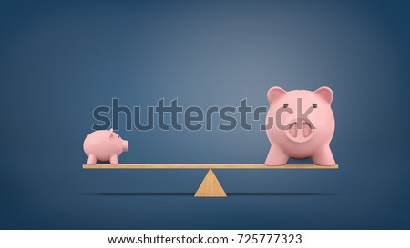 3d rendering of a small piggy bank in side view stands on a wooden seesaw balanced with a large piggy bank in front view. Less is more. Efficient saving. Investments growth.