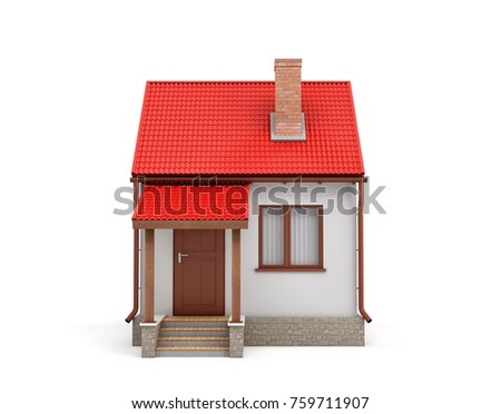 3d rendering of a small residential house with a chimney and a red roof on a white background. Home and house. Living place. Build your own home.