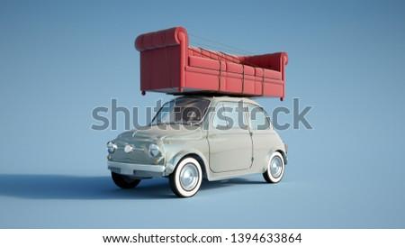 3D rendering of a small retro car carrying a big sofa