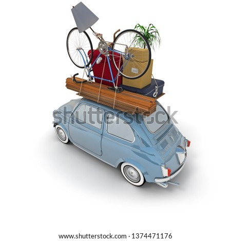 3D rendering of a small retro car carrying household items on the roof