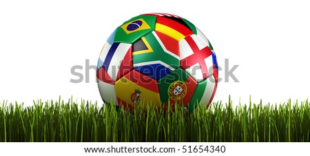 3d rendering of a soccer ball on grass. With flags of the participating countries in world cup 2010