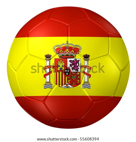 3d rendering of a soccer ball. ( Spain Flag Pattern )